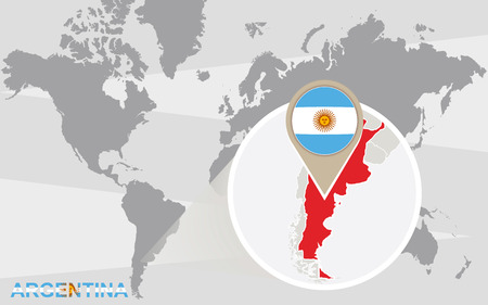 World map with magnified Argentina. Argentina flag and map.