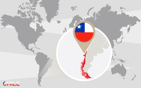 magnified: World map with magnified Chile. Chile flag and map.