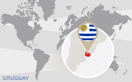 bandera uruguay: Mapa del mundo con magnificado Uruguay. Bandera de Uruguay y el mapa.