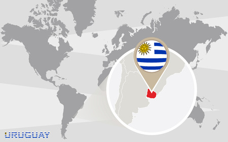 magnified: World map with magnified Uruguay. Uruguay flag and map.