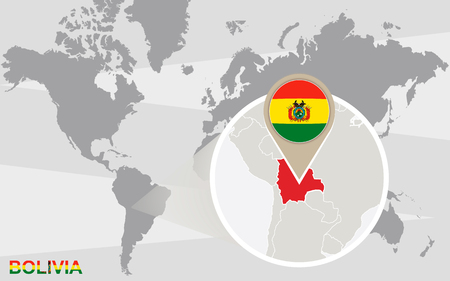 World map with magnified Bolivia. Bolivia flag and map.