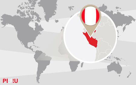 bandera peru: Mapa del mundo con magnificado Per�. Per� bandera y el mapa.