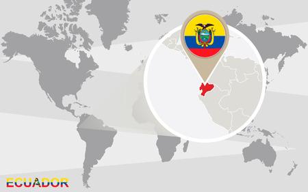 republic of ecuador: World map with magnified Ecuador. Ecuador flag and map.