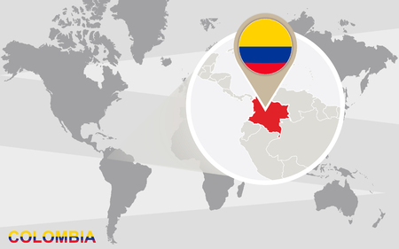 World map with magnified Colombia. Colombia flag and map.