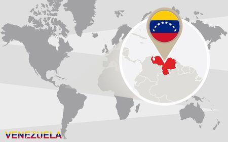 mapa de venezuela: Mapa del mundo con Venezuela ampliada. bandera de Venezuela y el mapa.