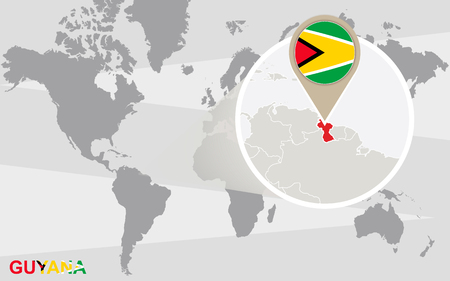 magnified: World map with magnified Guyana. Guyana flag and map.