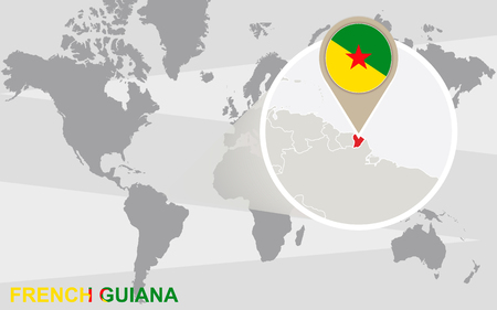 magnified: World map with magnified French Guiana. French Guiana flag and map.