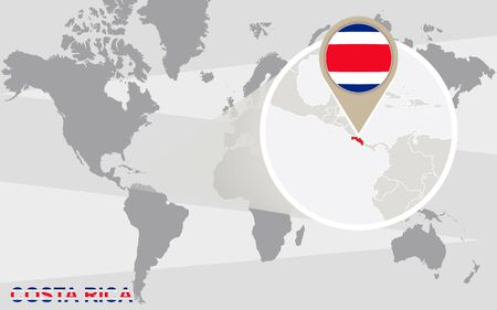 costa rica flag: World map with magnified Costa Rica. Costa Rica flag and map.