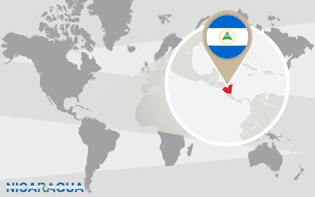 magnified: World map with magnified Nicaragua. Nicaragua flag and map.