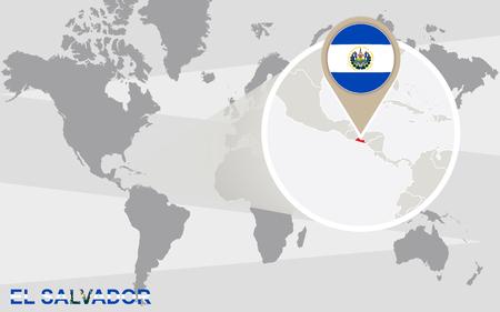 mapa de el salvador: Mapa del mundo con magnificado El Salvador. Bandera de El Salvador y mapa.