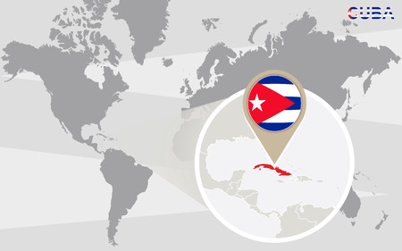 kuba flagge: World map with magnified Cuba. Cuba flag and map.