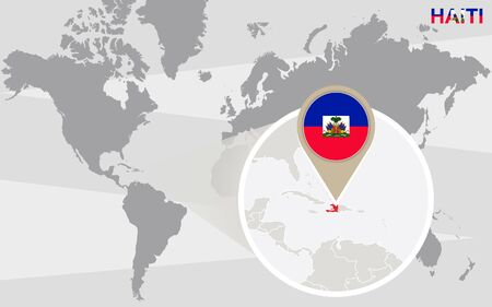 magnified: World map with magnified Haiti. Haiti flag and map.