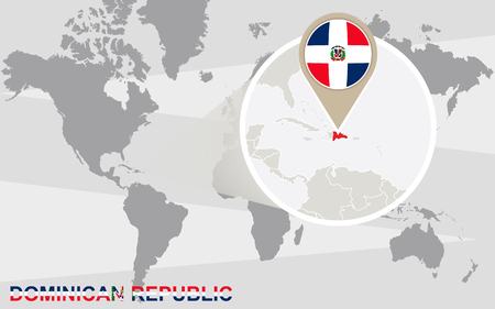 republic dominican: World map with magnified Dominican Republic. Dominican Republic flag and map.