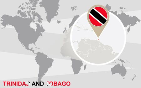 port of spain: World map with magnified Trinidad and Tobago. Trinidad and Tobago flag and map.