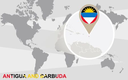 antigua: World map with magnified Antigua and Barbuda. Antigua and Barbuda flag and map.