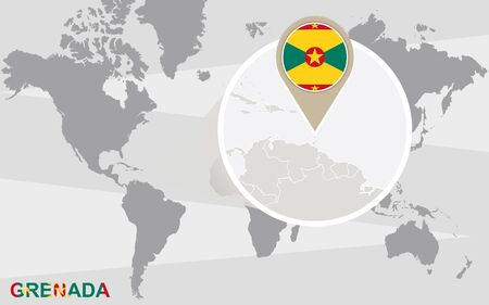 magnified: World map with magnified Grenada. Grenada flag and map. Illustration