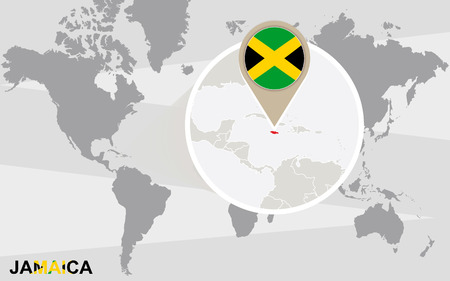 magnified: World map with magnified Jamaica. Jamaica flag and map. Illustration
