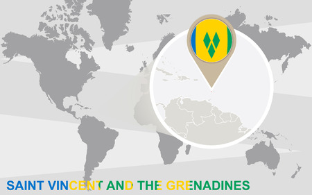 windward: World map with magnified Saint Vincent and the Grenadines. Saint Vincent and the Grenadines flag and map.
