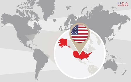 world flag: World map with magnified USA. USA flag and map.
