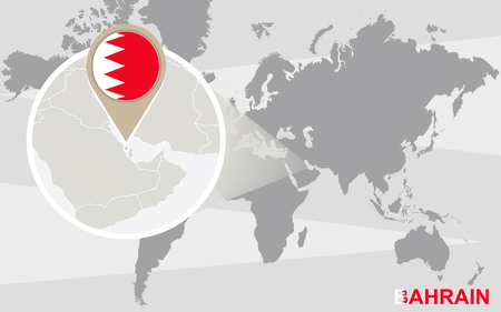bahrain: World map with magnified Bahrain. Bahrain flag and map.