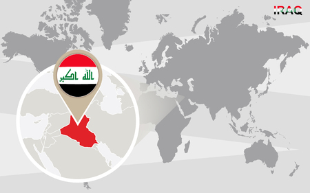 World map with magnifying on iraq blue earth globe with iraq world map with magnified iraq iraq flag and map vector gumiabroncs Gallery