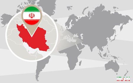iran: World map with magnified Iran. Iran flag and map. Illustration