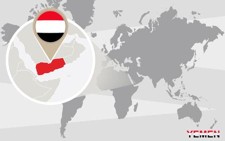 yemen: World map with magnified Yemen. Yemen flag and map.