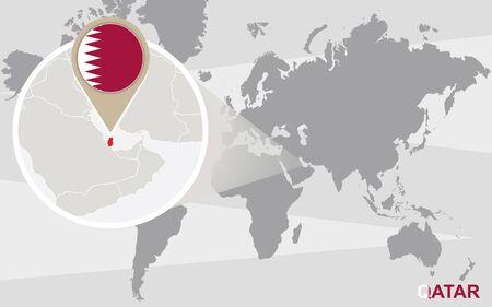qatar: World map with magnified Qatar. Qatar flag and map.