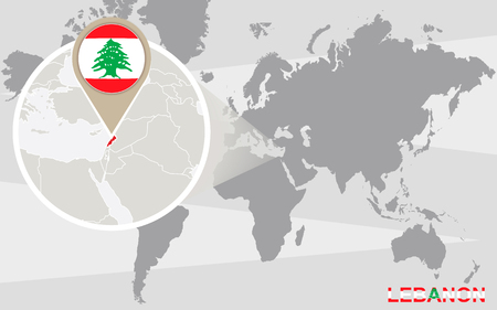 magnified: World map with magnified Lebanon. Lebanon flag and map.