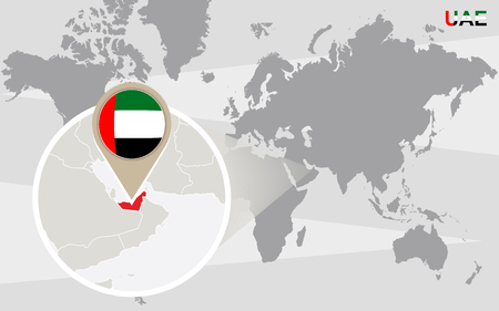 magnified: World map with magnified United Arab Emirates. UAE flag and map. Illustration