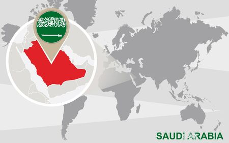 518 islamic oil stock illustrations cliparts and royalty free world map with magnified saudi arabia saudi arabia flag and map gumiabroncs Gallery