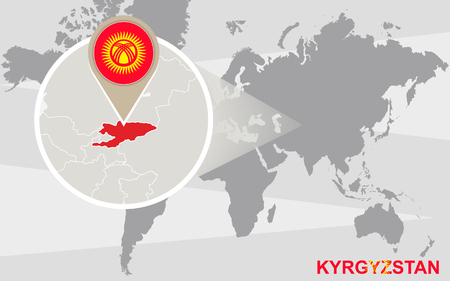 kyrgyzstan: World map with magnified Kyrgyzstan. Kyrgyzstan flag and map.