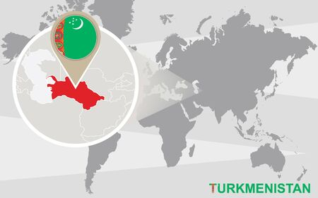 magnified: World map with magnified Turkmenistan. Turkmenistan flag and map. Illustration