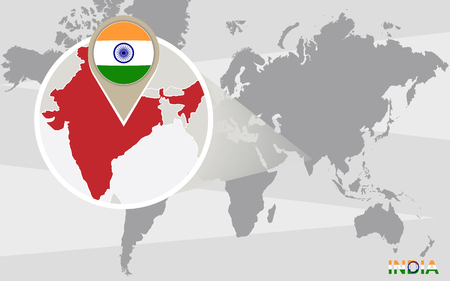 india city: World map with magnified India. India flag and map.