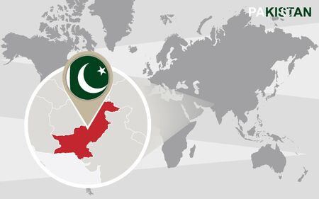 islamabad: World map with magnified Pakistan. Pakistan flag and map.