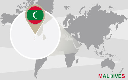 World map with magnified Maldives. Maldives flag and map. Illustration