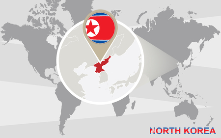 magnified: World map with magnified North Korea. North Korea flag and map.