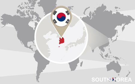 World map with magnified north korea north korea flag and map world map with magnified south korea south korea flag and map vector gumiabroncs Image collections