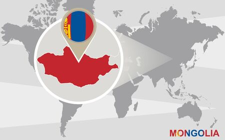 landlocked country: World map with magnified Mongolia. Mongolia flag and map.