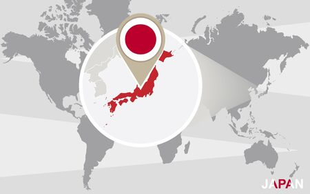 world flag: World map with magnified Japan. Japan flag and map. Illustration