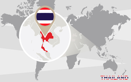 magnified: World map with magnified Thailand. Thailand flag and map.