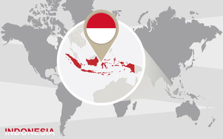 indonesia: World map with magnified Indonesia. Indonesia flag and map.