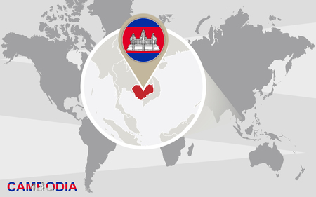 magnified: World map with magnified Cambodia. Cambodia flag and map.