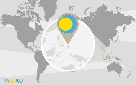 palau: World map with magnified Palau. Palau flag and map. Illustration
