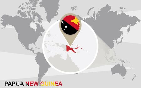 papua new guinea: World map with magnified Papua New Guinea. Papua New Guinea flag and map.