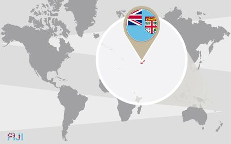 fiji: World map with magnified Fiji. Fiji flag and map. Illustration