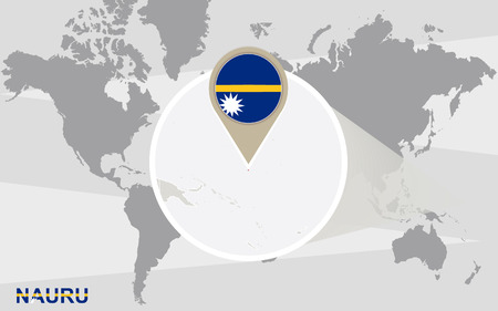 nauru: World map with magnified Nauru. Nauru flag and map. Illustration