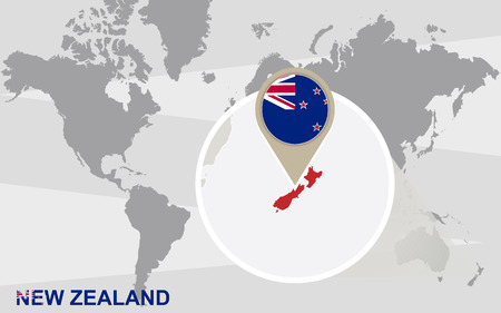 World map with magnified New Zealand. New Zealand flag and map.