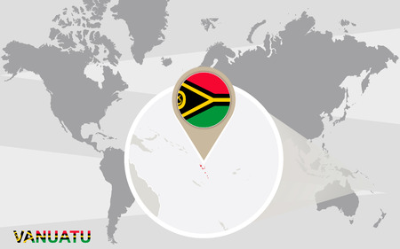 magnified: World map with magnified Vanuatu. Vanuatu flag and map. Illustration