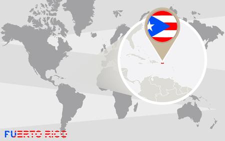 bandera de puerto rico: Mapa del mundo con magnificada Puerto Rico. bandera de Puerto Rico y el mapa.